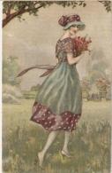 BOMPARD - ART DECO POSTCARD 1920s - WOMAN & FLOWER - N. 945 ( A ) - Bompard, S.