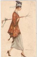 BOMPARD - ART DECO POSTCARD 1920s - WOMAN - N. 972-4 - Bompard, S.