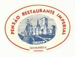 GUIMARÃES ♦ PENSÃO RESTAURANTE IMPERIAL ♦ PORTUGAL ♦ VINTAGE LUGGAGE LABEL ♦ 2 SCANS - Etiquetas De Hotel