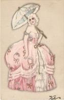 CHIOSTRI - ART DECO POSTCARD  1920s WOMAN & UMBRELLA - BALLERINI & FRATINI - 163 - Chiostri, Carlo