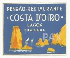 LAGOS ♦ PENSÃO RESTAURANTE COSTA D'OIRO ♦ PORTUGAL ♦ VINTAGE LUGGAGE LABEL ♦ 2 SCANS - Etiquettes D'hotels