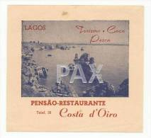 LAGOS ♦ PENSÃO RESTAURANTE COSTA D´OIRO ♦ PORTUGAL ♦ VINTAGE LUGGAGE LABEL ♦ 2 SCANS - Etiquettes D'hotels