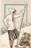 CHIOSTRI - ART DECO POSTCARD 1920s - WOMAN  - BALLERINI & FRATINI - 219 - Chiostri, Carlo