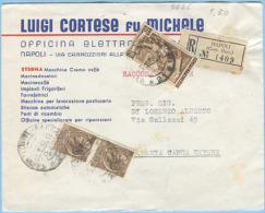 1956 LAVORO L.40 + SIRACUSANA L.20 COPPIA BUSTA RACCOMANDATA 5.10.56 MISTA MONOCROMA PSEUDOGEMELLI (5626) - 6. 1946-.. Repubblica