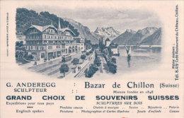 Publicité Bazar De Chillon, G. Anderegg Sculpteur, Tram Et Chemin De Fer (849) - VD Vaud