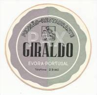 EVORA ♦ PENSÃO RESTAURANTE GIRALDO ( 6,8 Cm ) ♦ PORTUGAL ♦ VINTAGE LUGGAGE LABEL ♦ 1 SCAN - Hotel Labels