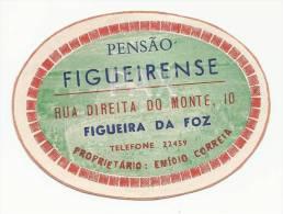 FIGUEIRA Da FOZ ♦ PENSÃO FIGUEIRENSE ♦ PORTUGAL ♦ VINTAGE LUGGAGE LABEL ♦ 1 SCAN - Hotel Labels