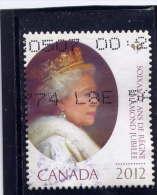 CANADA , 2012,  USED  #2519,   QUEEN ELIZABETH 11,  DIAMOND JUBILEE  STAMP FROM BOOKLET USED - 1952-.... Règne D'Elizabeth II
