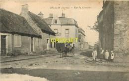 72 Brulon, Rue Du Cimetière, Femme Et Enfants En Charrette, Carte Peu Courante - Brulon
