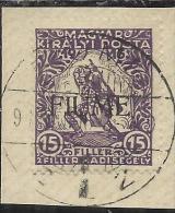 FIUME 1916 BENEFICENZA 15 F + 2 TIMBRATO USED - 8. Occupazione 1a Guerra