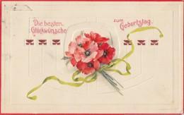 Geburtstagskarte Prägekarte Mit Blumenstrauß Gelaufen Westhofen 23.1.08 - Geburtstag