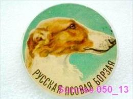 Animals: Hunting Dog Greyhound - Borzoi / Old Soviet Badge _50_an2353 - Animals