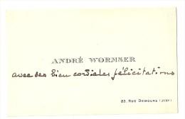 André WORMSER, Compositeur, Carte Autographe à Edmond Perrier, Vers 1912 ; Ref  288 - Autogramme & Autographen