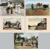 Lot 5 Cpa Egypte, Marchands De Limonade, Labours, Tramway, ... - Egypte