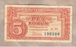 CHECOSLOVAQUIA -  5 Korun  1949  P-68 - Checoslovaquia