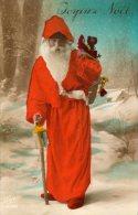 Joyeux Noël Illustré Avec Un Père Noël Très Kitsch Ou Moderne Avec Couleur Flashy Pour L'époque Hotte Cadeaux - Altri