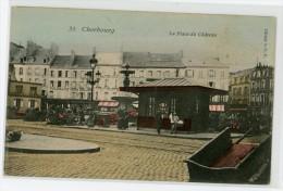 50 - CHERBOURG - La Place Du Château - Colorisée, Animée, Voir Scan - Cherbourg
