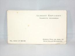 Carte De Visite. Albert Govaert. Trompette-Accordéon. Avenue Paul De Jaer. St.Gilles-Bruxelles - Cartes De Visite