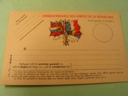 CARTE POSTALE EN FRANCHISE...CORRESPONDANC E DES ARMEE DE LA REPUBLIQUE... - Marcophilie (Lettres)