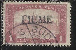 FIUME 1916 - 1917 MIETITORI E VEDUTA 1 K TIMBRATO USED - 8. Occupazione 1a Guerra
