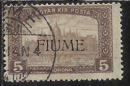 FIUME 1916 - 1917 MIETITORI E VEDUTA 5 K TIMBRATO USED - 8. Occupazione 1a Guerra