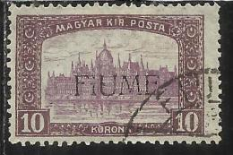 FIUME 1918 - 1919 MIETITORI E VEDUTA REAPERS AND VIEW 10 K USATO  USED OBLITERE´ - 8. WW I Occupation