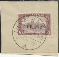FIUME 1918 - 1919 MIETITORI E VEDUTA REAPERS AND VIEW 10 K USATO SU FRAMMENTO USED ON CHIP OBLITERE´ - Fiume