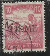 FIUME 1918 1919 MIETITORI E VEDUTA 10 F CIFRE BIANCHE 1917 WHITE NUMERAL TIMBRATO USED - 8. Occupazione 1a Guerra