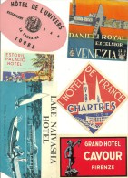 Beau Lot De 6 ETIQUETTES D'HOTEL ANCIENNES - DANIELI ROYAL VENIZIA- CAVOUR FIRENZE -ESTORIL PALACIO-LAKE NAIVASHA KENYA- - Etiquettes D'hotels