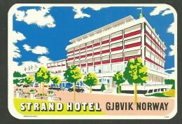 Très Belle étiquette Ancienne STRAND HOTEL -GJOVIK NORWAY -    Ou De Bagage   -   LUGGAGE LABEL - Etiquettes D'hotels