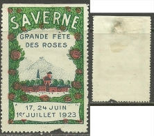 1923 Vignette Werbung Advertising Poster Stamp Cinderella SAVERNE Grande Fete Des Roses - Erinnofilia