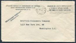 1937 USA Washington Brazil Embassy Navel Attache Diplomatic Mail Cover - Brasilien
