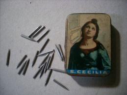 Scatola/scatoletta In Latta. Punte Originali S.CECILIA Per Fonografo. 1920/1920 Ca. - Altri Oggetti