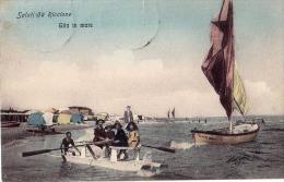 EMILIA-ROMAGNA RIMINI RICCONE GITA IN MARE CARTOLINA 1912 - Rimini
