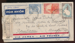 Enveloppe (1940) ARGENTINA - FRANCIA, Via Aerea - Air France, Air Mail, Por Avion, Metan - Caudiran (Gironde) Recommandé - Storia Postale