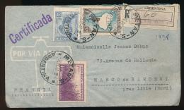 Enveloppe (1938) ARGENTINA - FRANCIA, Via Aerea, Air Mail, Por Avion, Metan - Marcq-en-Baroeul (Nord) Recommandé - Storia Postale