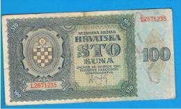 CROACIA -  100 Kuna 1941  P-2  Serie L - Croatia