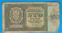 CROACIA -  100 Kuna 1941  P-2  Serie H - Croacia
