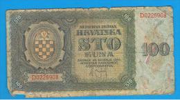 CROACIA -  100 Kuna 1941  P-2  Serie D - Croacia