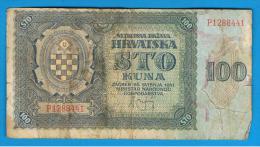 CROACIA -  100 Kuna 1941  P-2  Serie P - Croatie
