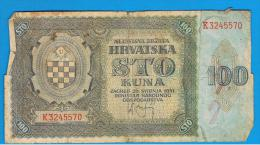 CROACIA -  100 Kuna 1941  P-2  Serie K - Croacia