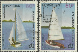 PAKISTAN 1982 ASIAN GAMES NEW DEHLI YACHTING BOATS SET OF (2V) USED STAMPS