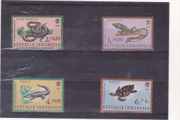 INDONESIE :reptiles  : **  : Y&T : 494 à 497 - Indonesië
