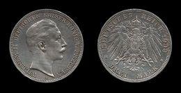 ALLEMAGNE . PRUSSE . WILHELM II . 3 MARK . 1909 A . - [ 2] 1871-1918 : German Empire
