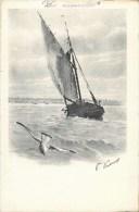 4 CPA 1900 : ILLUSTRATEUR P. JACOM ET VACHOUX BARQUE ET MOUETTE DU LAC DE GENEVE - Illustrateurs & Photographes