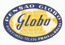 PORTIMÃO ♦ PENSÃO GLOBO ♦ PORTUGAL ♦ VINTAGE LUGGAGE LABEL ♦ 2 SCANS - Hotelaufkleber