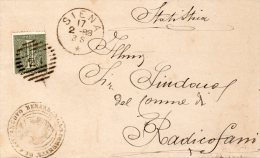1888 LETTERA CON ANNULLO SIENA - 1878-00 Umberto I