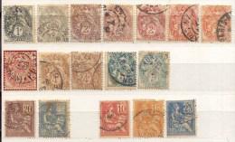 Año 1900 Yvert  107a111 113-114-116a118 Grupo Alegoria  Lote De 17 Sellos Matasellos Y Color Varios - 1876-1898 Sage (Type II)