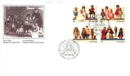 1990  Antique Dolls  Sc 1274-7   Block Of 4 Different - Ersttagsbelege (FDC)