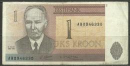 Estland Estonia Estonie 1 Kroon 1992 Kristjan Raud Banknote Bank Note - Estonia